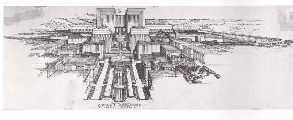 Lloyd Wright Civic Center Plan 1925, Courtesy of Eric Lloyd.