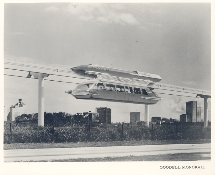 Goodell Monorail, 1963, Courtesy of the Los Angeles County Metropolitan.
