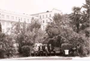 Pensioners relaxing outside the Primorskaya sanitorium in Sochi. May, 1998.